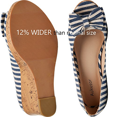 Round Line Width Toe Platform Blue Plus Open Wedge Luoika Summer Heel Women's Wide Pump Bow Tie Size Sandal nwCqETAY