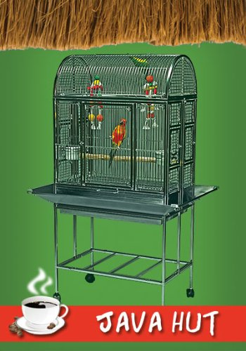 Java Hut Haven Stainless Steel Small Bird Cage - Perfect for Parrots, Parakeets, Cockatiels, Finches, Canaries, Conures, Budgies - 27