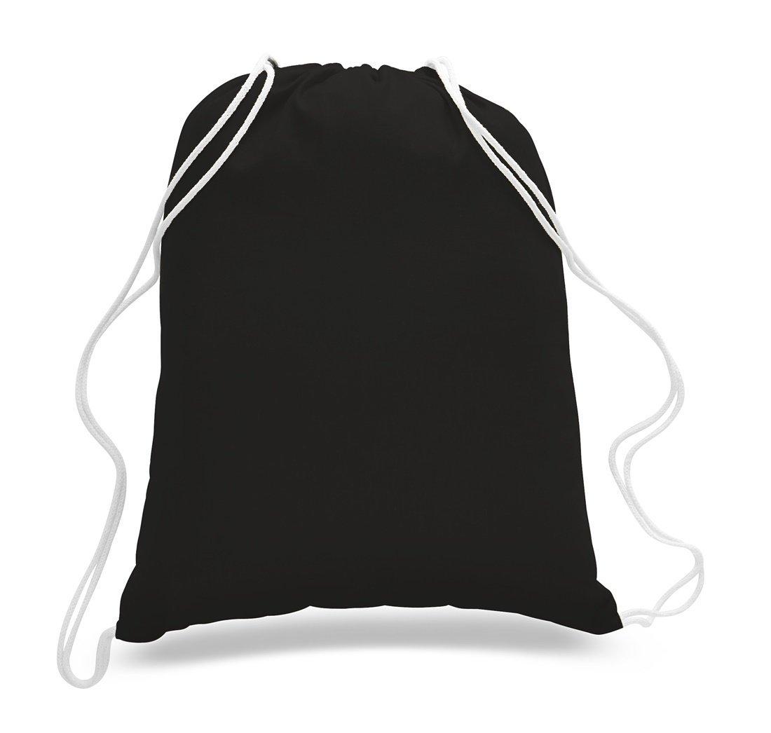 再利用可能なand Eco Friendly 100 %コットン巾着バッグ、ジム袋パック M ブラック SHOPINUSA B074SFSNYG ブラック 50