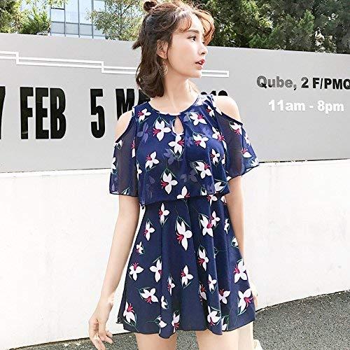 Dimensione colore Pezzi Sottile Angolo Swimsuit Qiusa Unica Come Mostrato Dimagrante Swirt Bianchi Blu Fiori Split Video Style Piatto Due Mostrato Taglia 5xl wqvZqU
