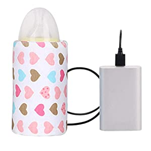 USB Baby Bottle Warmer Milk Warmer Infant Feeding Bottle Heated Portable Travel Cover Insulation Thermostat Food Heater Used in Home Outside, in Car (DD)