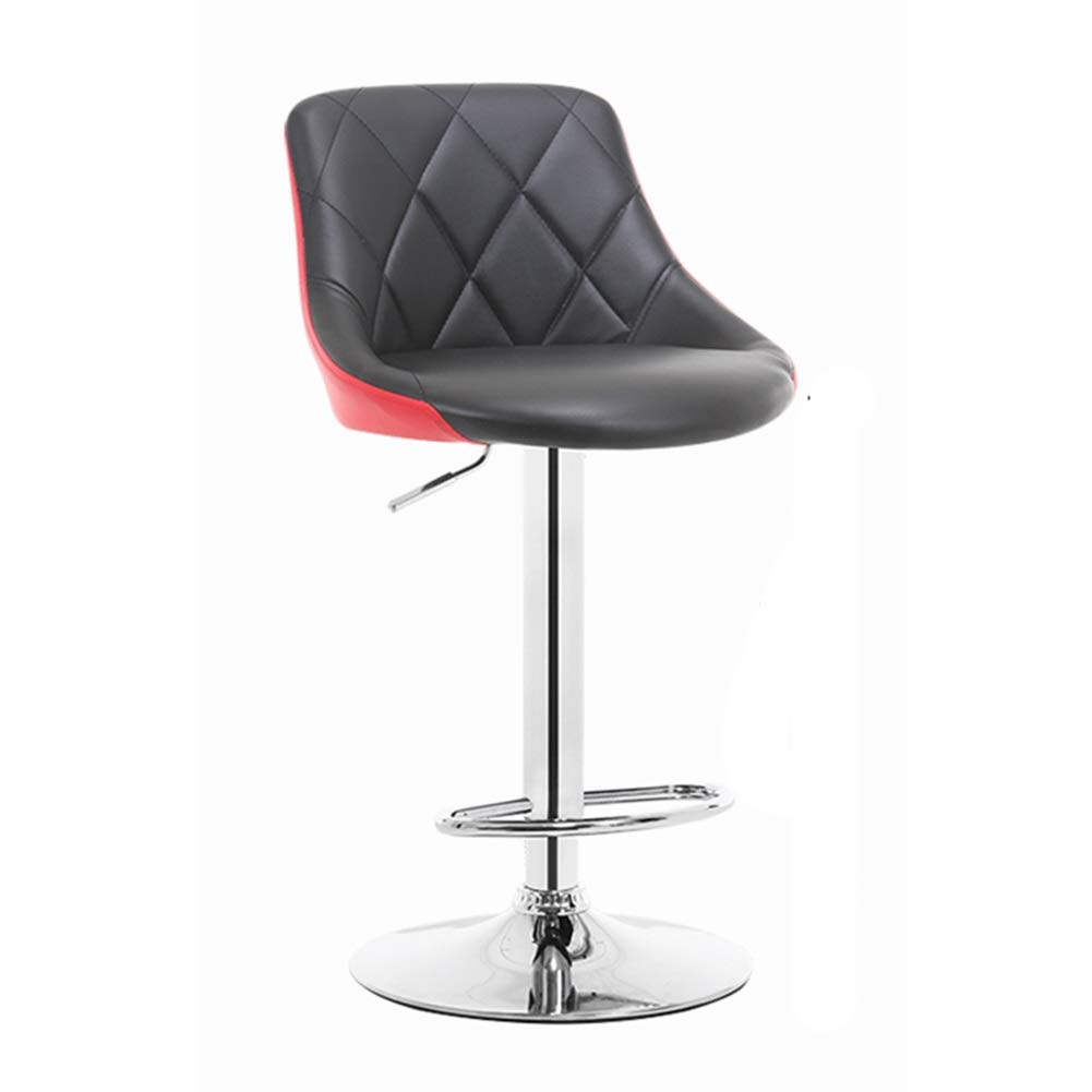 Black+red LIQICAI Bar Stool PU Leather Adjustable Height with Back Rest Swivel Suitable for Kitchen, Restaurants and Pubs, 6 colors (color   orange+White)