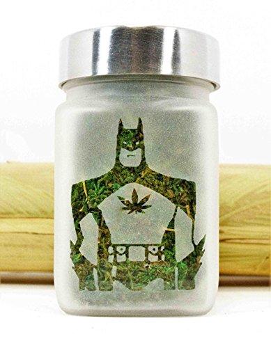 Batman with Pot Leaf Etched Glass Stash Jar & Herb Storage ()