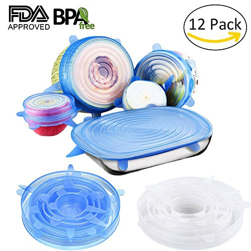 Silicone Lids,12 Packs Seal Food Stretch Wrap Reusable Cover Lids,Heat Resistant,Fit Various Sizes and Shapes of Containers,Microwave and Dishwasher Safe by WOOPOWER