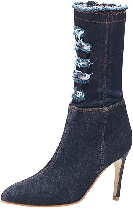 399e36e69b724 Amazon.com: Hunzed Women Shoes Pointed Denim Fashion Clearance ...