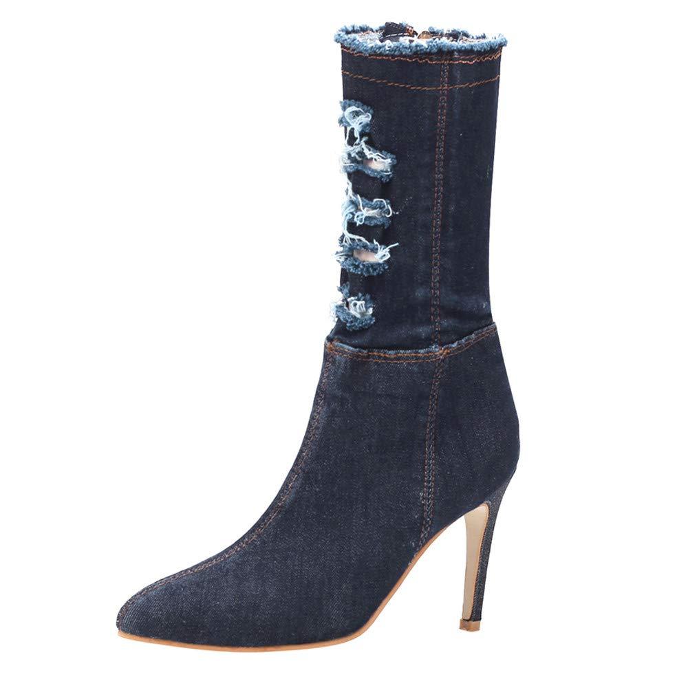 Hunzed Women Shoes Pointed Denim Fashion Clearance Stiletto high Heel Zipper Boots Women's Shoes (Dark Blue, 6 M US)