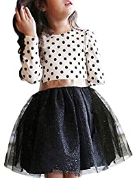 Girl Polka Dotted Pleated Multilayer Ruffled Party Dress