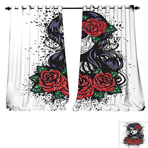 lackout Curtain Skulls ations Dead Hair Sugar Skull Lady with Roses in Retro Ink Style Red Black White and Green Patterned Drape For Glass Door (W96 x L96 -Inch 2 Panels) ()