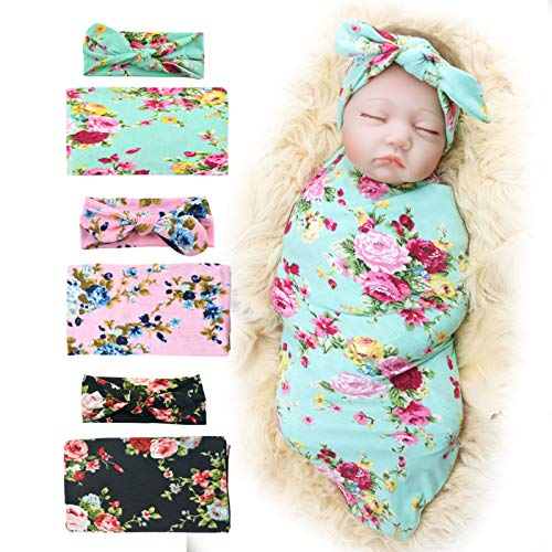 3 Pack Receiving Blanket with Headbands BQUBO Newborn Baby Floral PrintedBaby Shower Swaddle Gift ()