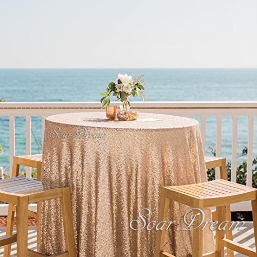 SoarDream 72 Inch Round Champagne Blush Sequin Tablecloth,Sequin Table Cover,Sequin  Table Overlays