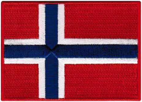 Norway Flag Embroidered Patch Norwegian Iron-On National Emblem