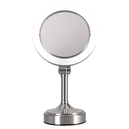 Zadro Dimmable Sunlight Vanity Mirror, Satin Nickel, 10x-1x