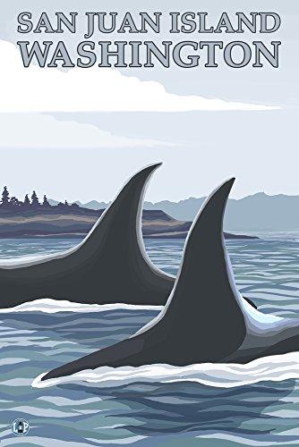 San Juan Island, Washington - Orca Whales #1 (12x18 Art Print, Wall Decor Travel Poster)
