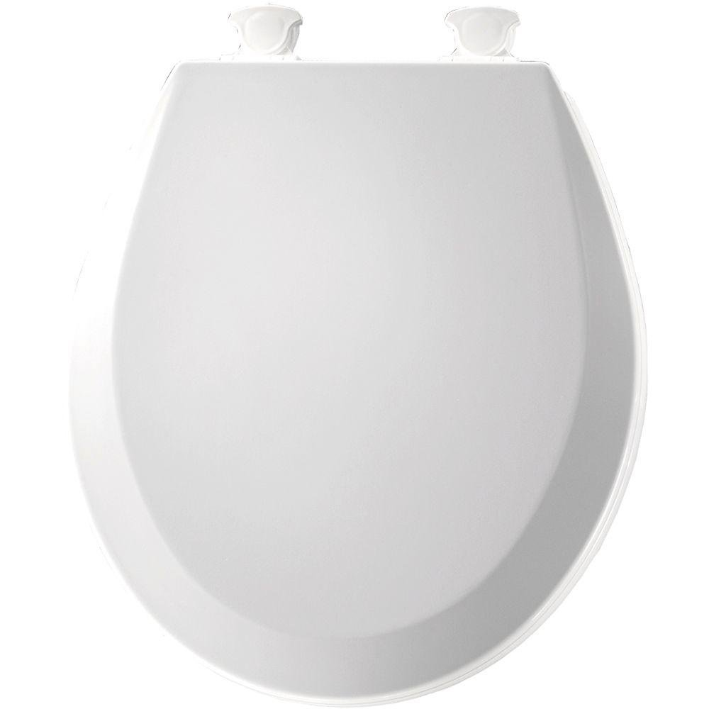 Bemis 500EC 390 Lift-Off Wood Round Toilet Seat, Cotton White