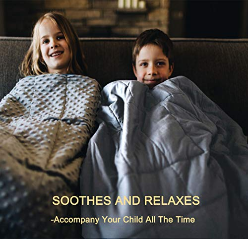 QueenKingHome Weighted Blanket 5 lbs for Adult Kids Teens   100% Cotton Twin Size Heavy Blanket with Glass Beads for Children 40 to 60 Pounds (5lb 36\'\' x 48\'\')