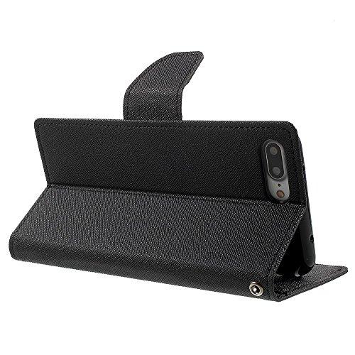 MERCURY GOOSPERY Leather Wallet Tasche Hüllen Schutzhülle - Case für iPhone 7 Plus - schwarz