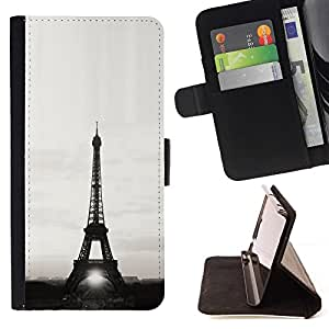 For Sony Xperia Z1 L39 Architecture Eiffel Tower Sun B&W Beautiful Print Wallet Leather Case Cover With Credit Card Slots And Stand Function