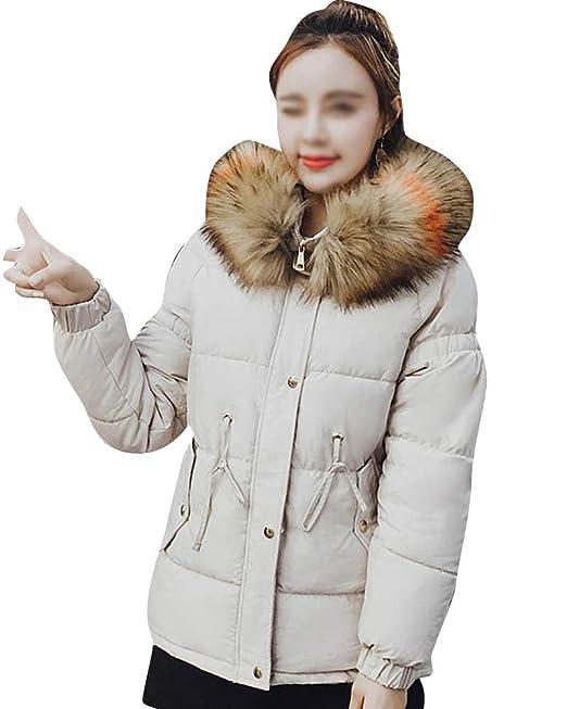 Mujer Abrigos Cortos, Chaqueta Espesar Pelaje Collar Parka con Capucha Manga Larga: Amazon.es: Ropa y accesorios