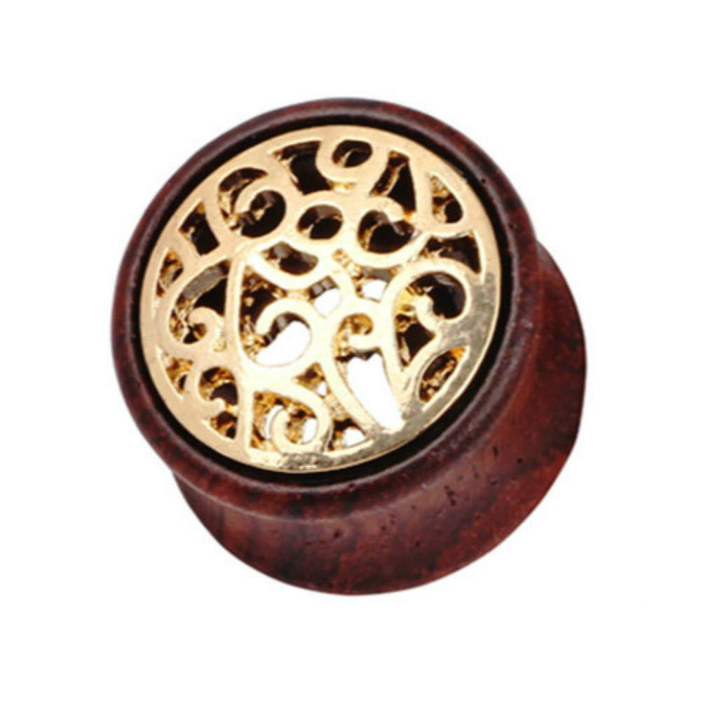 Acccity Natural Wood Gold Metal Floral Flesh Tunnel Double Flared Ear Stretcher Saddle Plugs Gauge 1 Piece 8mm - 20mm (Brown, 20mm)
