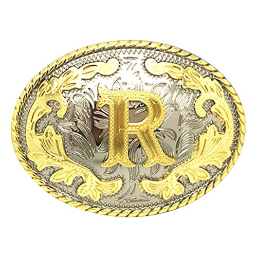 Western Belt Buckle Initial Letters ABCDEFG to Y-Cowboy Rodeo Gold Large Belt Buckle for Men and Women (R)