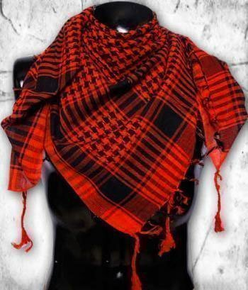Checkered Shemagh - Arab Scarf / Kafiya: Black & Red
