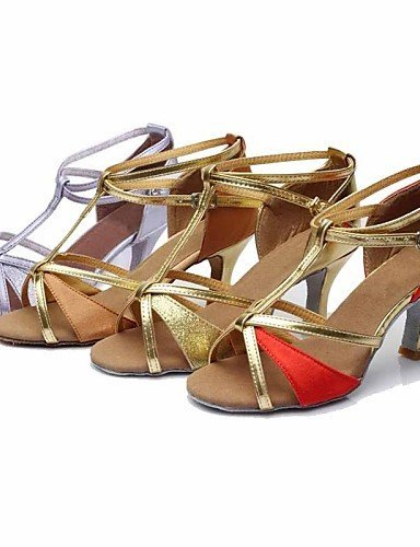 ShangYi Customizable Women's Dance Shoes Latin/Dance Sneakers Silk/Paillette Customized Heel Brown/Red/Gold/Other Brown l52wvCpbO