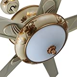 Andersonlight Vintage Pattern Ceiling Fan with 24W High Power LED Light Source, 3-color Dimmable, 5 Beige Metallic Blades, Brushless Reversible Motor Speed Fast Noise Small Energy-saving
