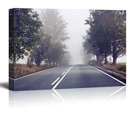 Beautiful Scenery Landscape Empty Road on a Foggy Morning Wall Decor ation