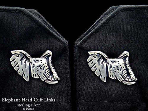 Elephant Head Cuff Links in Solid Sterling Silver Hand Carved & Cast by Paxton by Paxton Jewelry