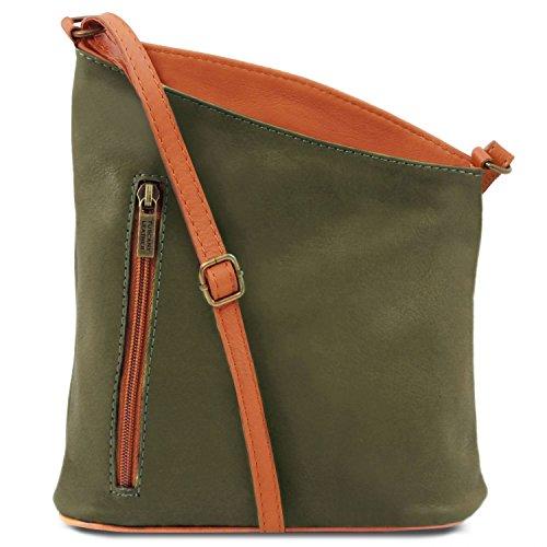 Marrón Leather Piel Verde TLBag Bolsillo con Unisex en Suave Tuscany Bandolera CxfRwS6wq