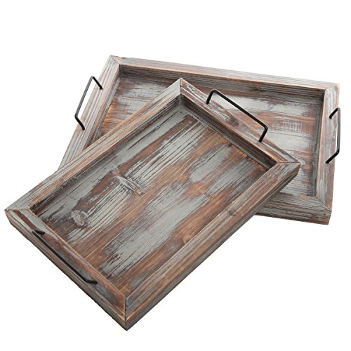 [Set of 2 Country Rustic Whitewashed Brown Wood Finish Rectangular Nesting Serving Trays w/ Metal Handles] (Nesting Wood Trays)