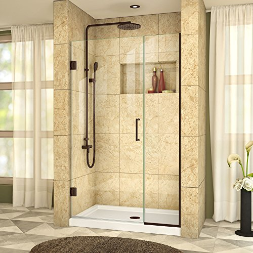 [DreamLine Unidoor Plus 39 1/2-40 in. Width, Frameless Hinged Shower Door, 3/8