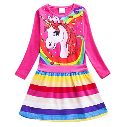Toddler Girl Dress Unicorn Dresses - Long Sleeve Knit Girl Dresses with 2 Pockets 4-5T Rose Red