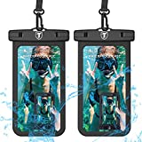 Universal Waterproof Case, 2-Pack Tekcoo IPX8 Waterproof Phone Black Pouch Dry Bag Compatible iPhone Xs Max/Xs/XR/X/8 Plus, Galaxy S10/S10+/S10e/S9/Note 9, LG G8, Moto G7,Pixel 3A & Phones Up to 6.5'