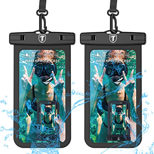 Universal Waterproof Case, 2-Pack Tekcoo IPX8 Waterproof Phone Black Pouch Dry Bag Compatible iPhone Xs Max/Xs/XR/X/8 Plus, Galaxy S10/S10+/S10e/S9/Note 9, LG G8, Moto G7,Pixel 3A & Phones Up to 6.5