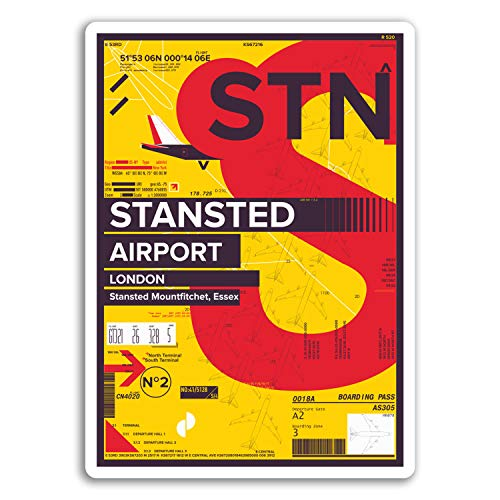 2 x 10cm London Stansted Airport Vinyl Stickers - England Travel Sticker #17450 (10cm Tall)
