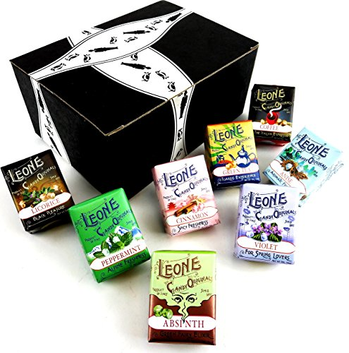 Pastiglie Leone Classic Pastilles 8-Flavor Variety: One 1 oz Package Each of Violet, Anise, Cinnamon, Peppermint, Coffee, Green Tea, Absinth, and Licorice in a BlackTie Box (8 Items Total) (Cinnamon Gift)