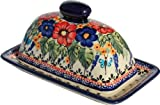 Polish Pottery Butter Dish 4'' X 7'' From Zaklady Ceramiczne Boleslawiec 1377-149 Art Unikat Signature Pattern, Dimensions: 7.5 Inch X 4.4 Inch