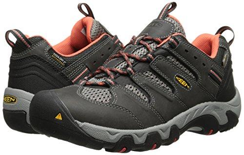 51ms4UbPp0L - KEEN Women's Koven Waterproof Hiking Shoe, Raven/Hot Coral, 6 M US