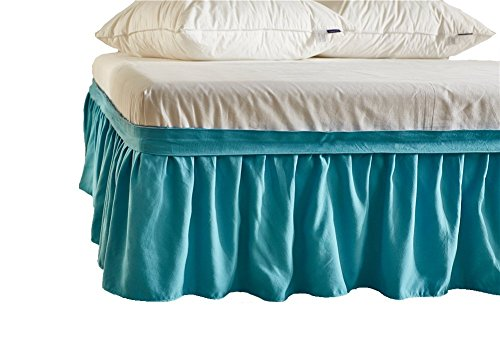DuShow Blue Ruffled Bed Skirt Detachable Bedskirt (15.7