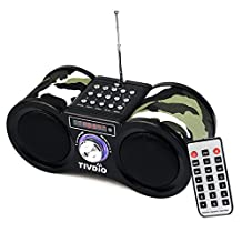 TIVDIO V-113 Portable FM Stereo Radio Support Digital MP3 Speaker SD Card Player with Remote Control(Camouflage)