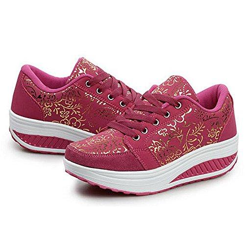 Marche Rouge Sneaker Décontractée de WYSBAOSHU Femmes Rose Chaussures 0wRXU
