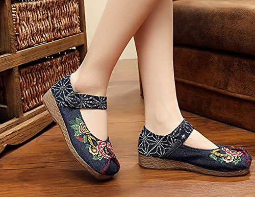 MISSMAO Vintage Chinese Style Women Embroidered Shoes Mary Jane Flat Ballet Cotton Loafer Blue iRKQe3aI
