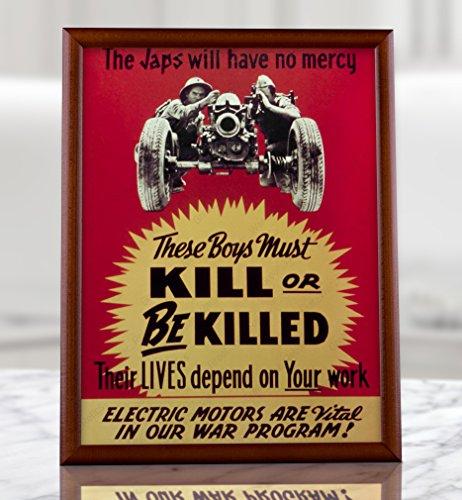 UpCrafts Studio Design WW2 Japanese Propaganda Poster - War Memorabilia Fine Art Print (8.3x11.7, Brown Wood Framed Poster) ()