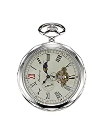 Treeweto Mechanical Pocket Watches Silver Roman Numerals Open Face With Chain Men 24-Hour Moon Sun