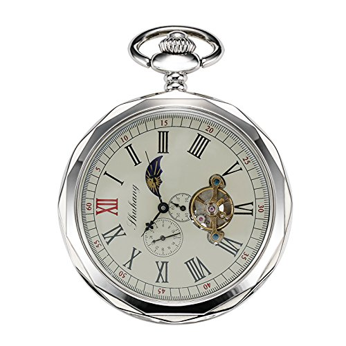 TREEWETO Mechanical Pocket Watches Silver Roman Numerals Open Face With Chain Men 24-Hour Moon Sun + Gift - Pocket Crown Watch