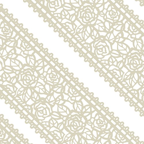 Funshowcase Large Pre-Made Ready to Use Edible Cake Lace Rose Blossom Ivory White 14-inch 10-piece Set
