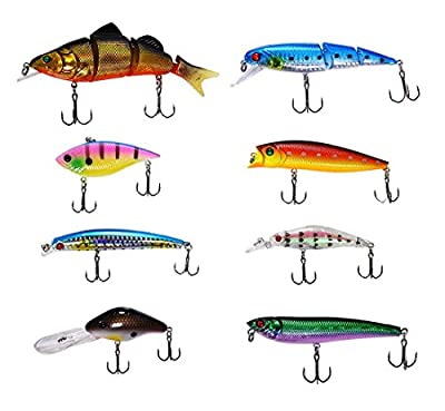LotFancy Storage Case and 8 PCS Fishing Lures Spinner Baits Crankbait Assorted Fish Tackle Hooks