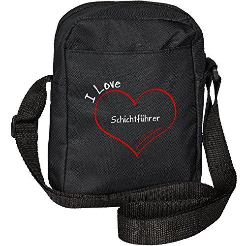 Umhängetasche Modern I Love Schichtführer schwarz