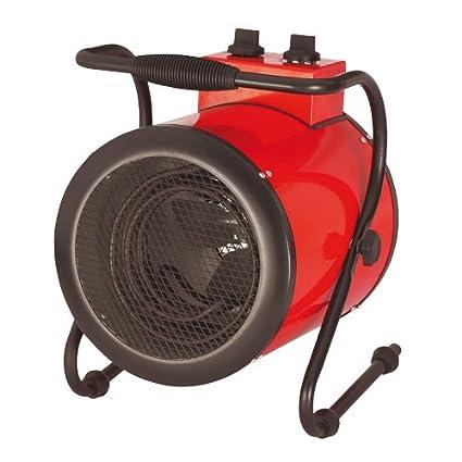 Calefactor Eléctrico Redondo Inclinable para Garaje, Taller y Cobertizo 3kW 3000W - Con Termostato
